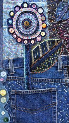 61 Super Ideas For Embroidery Jeans Ideas Textile Art Patchwork Quilt, Crazy Patchwork, Crazy Quilting, Denim Quilts, Art Quilting, Quilting Ideas, Crazy Quilt Stitches, Crazy Quilt Blocks, Quilting Patterns