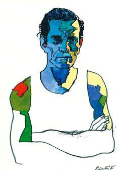 Pasolini Ferenc Pinter Book Illustration, Illustrations, Illusion Art, Art Sketchbook, Caricature, Comic Art, Graphic Art, Art Gallery, Character Design