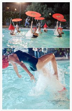synchronized swimmers with parasols!
