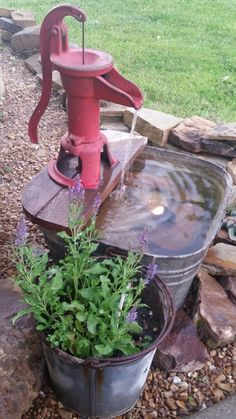 metal wash tub and water pump turned in to a neat water feature/fountain.Galvanized metal wash tub and water pump turned in to a neat water feature/fountain. Outdoor Water Features, Water Features In The Garden, Garden Features, Garden Yard Ideas, Lawn And Garden, Garden Kids, Party Garden, Garden Junk, Terrace Garden