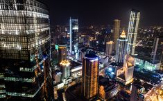 Download wallpapers Shanghai, skyscrapers, cityscape, night, city lights, China