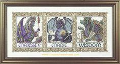 Needlecraft and crossstitch patterns Fantasy Cross Stitch, Frame, Pattern, Dragons, Picture Frame, Patterns, Frames, Model, Kites