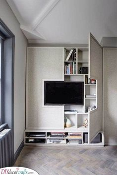 A Hidden Shelf - Surrounding Your Television Living Room Wall Units, Living Room Storage, Bedroom Storage, Living Room Designs, Small Rooms, Small Apartments, Small Spaces, City Apartments, Hidden Spaces