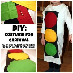 DIY: costume for carnival - semaphore Diy Costumes, Diy And Crafts, Children, Fabric, Blog, Craft Ideas, Carnavals, Young Children, Tejido