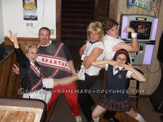 Saturday Night Live group costume - Mary Catherine Gallagher,  Chippendale Dancers, and Spartan Cheerleaders