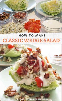 Wedge Salad Recipes, Salad Dressing Recipes, Healthy Salad Recipes, Veggie Recipes, Blue Cheese Recipes, Seven Layer Salad, Classic Salad, Food Is Fuel, Dessert For Dinner