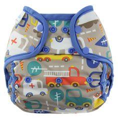 """Traffic"" Blueberry Capri Diaper Covers - Snaps"