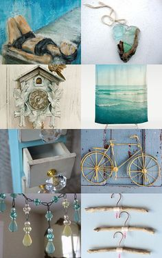 """""""shoelessly splashing somersaults"""" Treasury curated by paroliro on ETSY features beach house home decor by my talented fellow Etsians.  [*Click on image to see all 16 items I chose.]   --Pinned with TreasuryPin.com"""