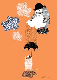 sateentekijä - rain maker, 50x70 print, available at www.viljaminpuoti.fi