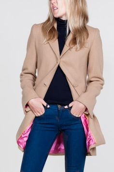 camel coat with hot-pink lining, by emerson made