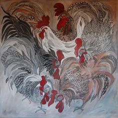 """Roosters "" Original painting by Anna  Strøm,100x100cm, Canvas,acrylic painting, Japanese inspiration, Japan, Hane, animals painting, contemporary art, modern art, wall decor, gallery, black ink Modern Wall Art, Contemporary Art, Decorating With Pictures, Inspiration Wall, Painting Canvas, Roosters, Animal Paintings, Modern Interior, Wall Art Decor"