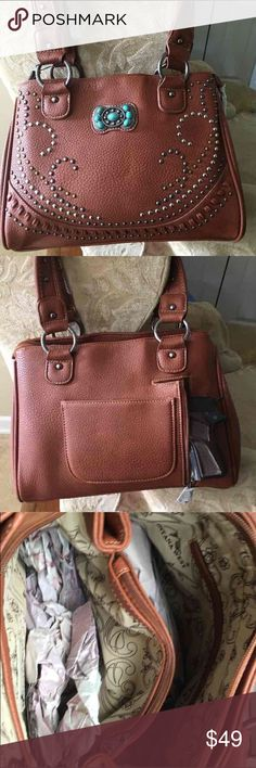 c9218ee2fba5 Montana West Concealment Purse Concealed Carry Handbag Gun pocket in back  Brown 9 1 2