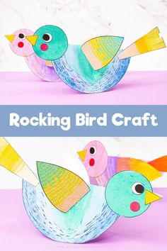 Craft meets Stem to create this engaging and easy to make Rocking Paper Craft for kids. Children will love the creative aspect of decorating their paper birds and assembling, like a puzzle to ensure the paper birds rock back and forth. Paper Animal Crafts, Paper Animals, Bird Crafts, Flower Crafts, Home Crafts, Spring Crafts For Kids, Paper Crafts For Kids, Easy Crafts For Kids, Arts And Crafts