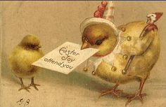 vintage Easter chicks, don't think it's a free printable.