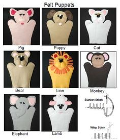 Felt Puppets - super cute, but i'd probably make them without the eyelids, or with different ones. they look so sad! Felt Puppets, Puppets For Kids, Felt Finger Puppets, Hand Puppets, Puppet Patterns, Felt Patterns, Stuffed Toys Patterns, Sewing Kids Clothes, Sewing For Kids