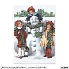 Children Hanging Holly Garland Snowman 5x7 Paper Invitation Card