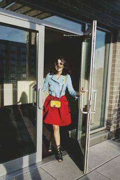 i love her jacket!!!  Acne jacket, Carven skirt, Altuzarra heels, Cast sunglasses