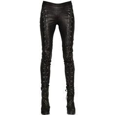 A.F.VANDEVORST Lace-Up Nappa Leather Punk Pants ($1,349) ❤ liked on Polyvore featuring pants, bottoms, jeans, calças, black, punk pants, lace-up pants, punk rock pants, black trousers and black pants
