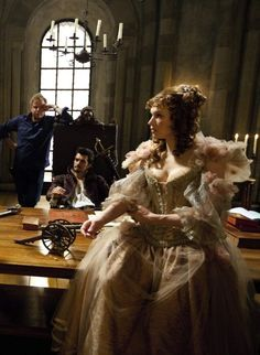 Orlando Bloom as The Duke of Buckingham and Milla Jovovich as Milady de Winter, on the set of The Three Musketeers, 2011 Milla Jovovich, Beautiful Costumes, Beautiful Gowns, The Three Musketeers 2011, Bbc Musketeers, Milady De Winter, Period Costumes, Movie Costumes, 17th Century Fashion