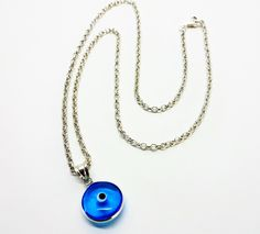 Evil eye necklace-Silver evil eye pendant-Silver chain-Sterling silver-Protection jewelry-Greek jewelry by PlanetEarthHandmade on Etsy