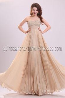 Champagne Strapless Sweetheart Long / Floor-Length Chiffon Elastic Silk-like Satin 2013 prom dress D