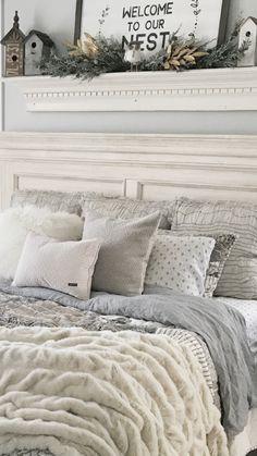 Gray and cream farmhouse bedding in master bedroom ❤️