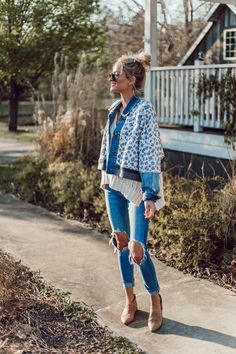 Free People floral jacket, knit sweater, ripped skinny jeans