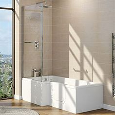 Cooke & Lewis LH Acrylic P shaped Shower Easy Access Bath Walk In Shower Bath, P Shaped Bath, Bath Screens, Bath Taps, Solid Doors, Shower Screen, Curved Glass, Modern Bathroom, Bathroom Ideas
