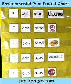 Free Environmental Print Pocket Chart Activities via www.pre-kpages.com
