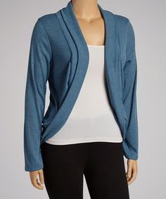 Take a look at this Heather Blue Long-Sleeve Open Cardigan - Plus by Poliana Plus on #zulily today!