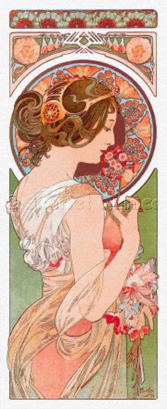 mucha, brunette in peach tones