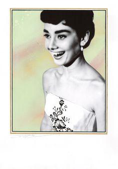 New Audrey Hepburn drawing. Ballpoint pen & spray paint on card. 40x30cm, 2014, sold. www.jamesmylne.co.uk