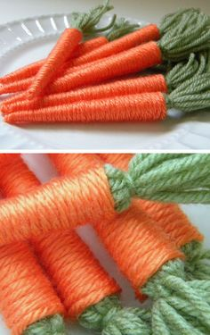 Yarn Baby Carrots   DIY Easter Decor Ideas for the Home   Easy Easter Decorations for Kids