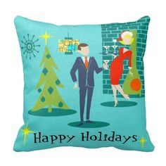 Retro Holiday Cartoon Couple Throw Pillow- Great Sales Going on Now!