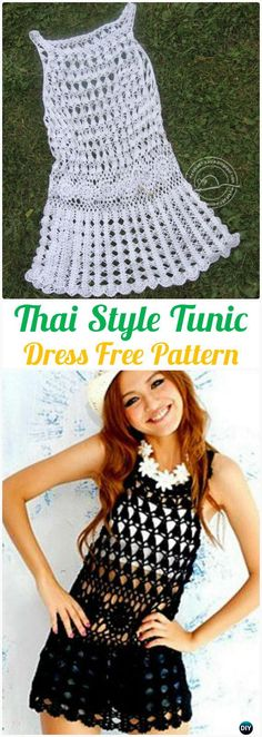 Crochet Thai Style Summer Tunic Dress Free Pattern - #Crochet; Women #Dress; Free Patterns