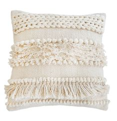 Create a cozy, on-trend look with this hand-woven pillow, featuring braided, knotted and fringe textures for a bohemian-chic vibe we're obsessed with.