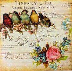 Vintage Birds and Roses Background Decoupage Vintage, Vintage Diy, Vintage Labels, Vintage Ephemera, Vintage Cards, Vintage Paper, Vintage Postcards, Images Vintage, Photo Vintage
