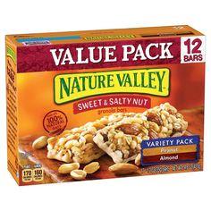 Nature Valley Sweet & Salty Nut Granola Bar Variety Pack of Peanut and Almond, 12 - oz Bars - 12 ct Chewy Granola Bars, Crunchy Granola, Yogurt And Granola, Nature Valley Granola, Oats And Honey, Cereal Bars, Vanilla Yogurt, Chocolate Cherry, Yummy Snacks