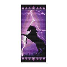 Free Bead Loom Bracelet Patterns | Bead Pattern Lightning Horse Cuff Bracelet Square Loom Or Peyote