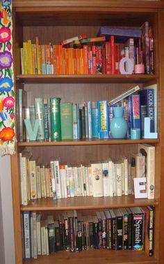 Colour co-ordinated bookcase a la Gwatty casa.