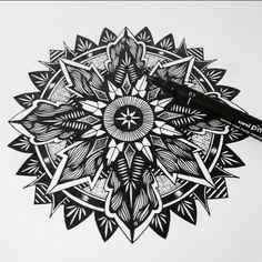 #mandala #inkdrawing #zenart #linework #blackart #mandalatattoo #zen #blackwork #symmetry