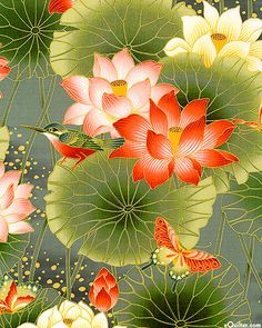 Glacier Star focus fabric 'Sanctuary' collection by Kona Bay Fabrics - colorway Lotus Dreaming - Spruce Green/Gold (equilter) Japanese Painting, Chinese Painting, Chinese Art, Japanese Artwork, Lotus Kunst, Lotus Art, Lotus Painting, Silk Painting, Pichwai Paintings