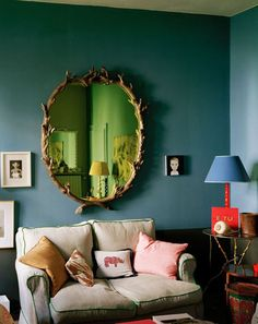 Marrs Green wall - paint colour is vardo by Farrow and Ball