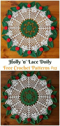 Holly 'n' Lace Doily Free Crochet Pattern - Crochet Free Patterns Christmas Doily Crochet Free Patterns Free Crochet Doily Patterns, Crochet Mat, Crochet Dollies, Thread Crochet, Crochet Gifts, Crochet Doily Diagram, Tatting Patterns, Crochet Flowers, Free Pattern