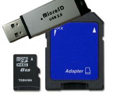 #ebay Toshiba 8 GB Micro SDHC Card with SD and Flash memory Adapter - Bulk Pack - $4.99 (save 90%) #toshiba #cell #phone
