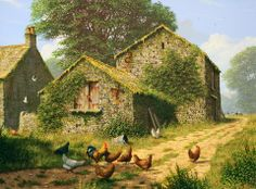 """""""Edward Heresy paints pictures we all want to see. Our country is a difficult place to be happy in at the moment so we need all the uplifting art I can find. He's a very popular artist"""" Farm Images, Life Paint, World Of Darkness, Country Scenes, Popular Artists, Digital Portrait, Artist Painting, Country Life, Farm Animals"""