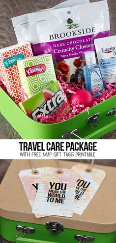 """A sweet travel themed care package with free map gift tags that say, """"You mean the world to me!"""" More details at www.livelaughrowe.com #discoverbrookside"""
