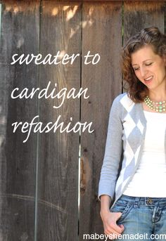 Refashion your too-small sweater to cardigan using this simple sewing tutorial. Cut it down the middle and make your sweater into a cardigan that fits!