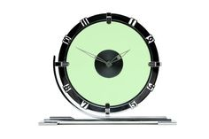 An Art Deco chrome and green glass mantel clock by Le Coultre for Garrard