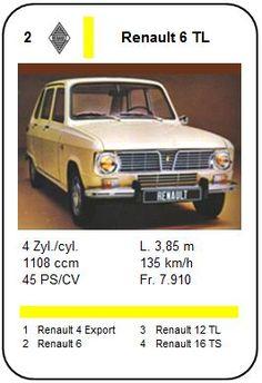 Renault 6 TL - Autos série 1 - 1971 Mercedes 300e, Automobile, Triumph Spitfire, Top Trumps, Toyota Fj Cruiser, Ford Thunderbird, Bus, Old Cars, Fiat